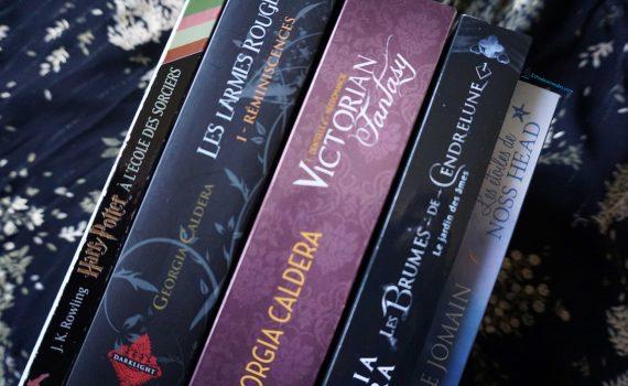 Photo des premiers tomes des sagas : Harry Potter (J.K. Rowling), Les Larmes Rouges (Georgia Caldera), Victorian Fantasy (Georgia Caldera), Les Brumes de Cendrelune (Georgia Caldera), Les Etoiles de Noss Head (Sophie Jomain)