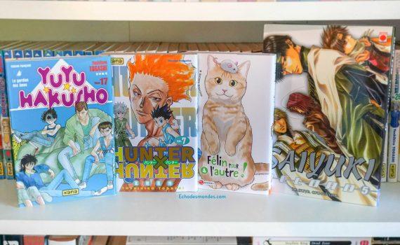 photo des 4 mangas shonen présenté dans l'article